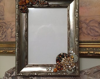 Picture Frame in Browns and Golds, Adorned Picture Frame