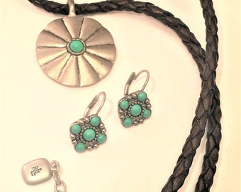 Ralph Lauren Necklace and earrings set Silver Turquoise Leather Native American Look
