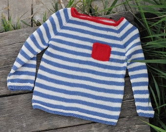 hand knit sweater - baby boy sweater - toddler sweater - sweater for boy - spring sweater - strips