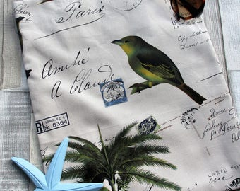 Postcard tote, Exotic bird tote bag, Postcard bag, French tote, Eco bag, French beach bag, Bird bag