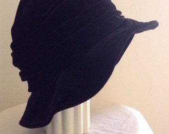 Vintage Laura Ashley Black Velvet Hat