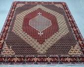 8.2'x'10.11' Persian Bidjar Handmade, oriental, floral pattern, candy red, yellow orange, navy blue, green area rug, carpet