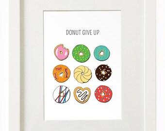 Donut Print – Office, Nursery Wall Art, Decor, Illustration, Dessert, Food, Foodie