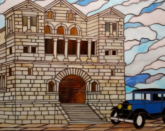 Stained glass Villa with a vintage car
