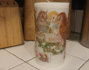 Owls Playing Poker Candle