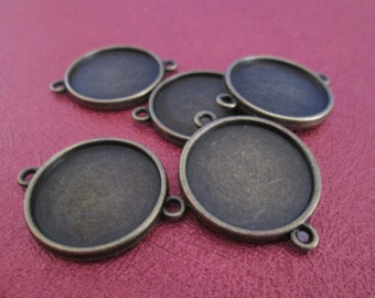 20 connectors bronze round brackets for 20mm cabochon