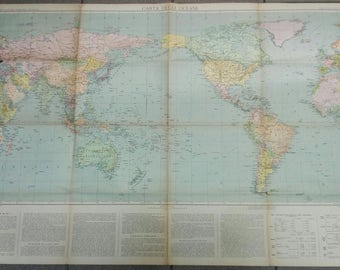 geographical map of the oceans OCEANS PAPER 118 x 82 cm. of 1941