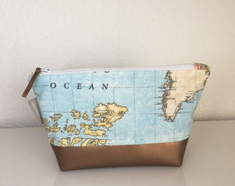 Make-up bag world map