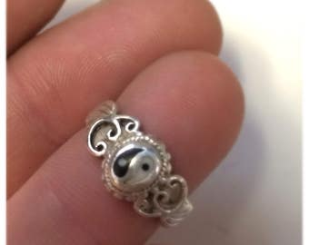 Sterling 925 Silver Yin Yang ring Size 4