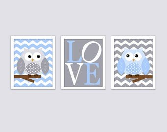 Owls on Chevron Nursery Wall Art