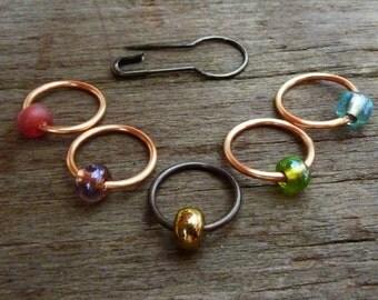 Beaded Ring Knitting Stitch Markers Set with Stitch Holder Pin 6pcs