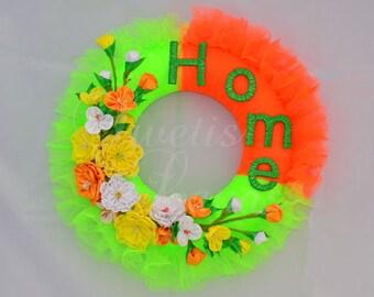 Kanzashi flowers wreath, spring, summer, Hall, door wreath, kanzashi, fabric flower