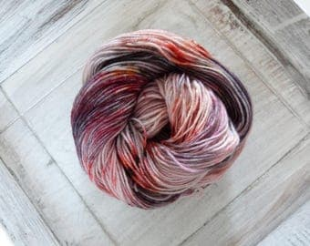 Socks wool cloth yarn 100 g hand dyed battlefield grey red orange gold
