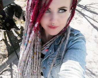 A Full Set of PurplePink to silverwhite SE dreads extra-extra-long
