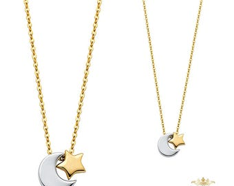 "14K Two Tone Moon & Star Necklace - 17+1"", necklace, mothers necklace, mom necklace, jewellery, jewelry stores"