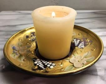 Elegant hand painted votive candle holder displays gold gilt & daisies uniquely different raised paint design