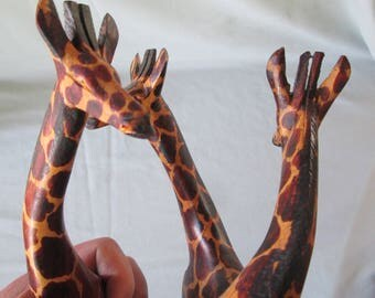 Original Vintage 3 Interwined Hand Carved Wood Giraffe Figurines. From an Estate Collection. Made in Kenya, Africa