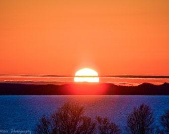 Lake Michigan Summer Sunset Over Leelanau Peninsula