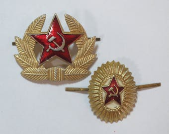 Red army Officer hat pin Officer badge on hat Soviet vintage pin Gold pin USSR military pin Russian badge Hammer and sickle Party gifts