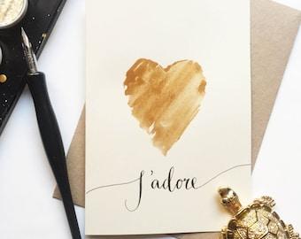 J'adore Valentines Greeting Card