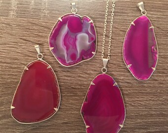 Agate Slice Necklace-Pink agate pendant-Handmade Druzy Crystal Geode- Silver plated