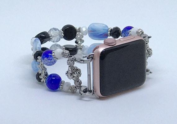 "Apple Watch Band, Women Bead Bracelet Watch Band, iWatch Strap, Apple Watch 38mm, Apple Watch 42mm, Blue, Black, White Size 7 1/2"" - 7 3/4"""