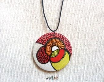 "Medallion gem Organitron red pink yellow orange, textures, design, wood 2 ""diameter, hand painted"