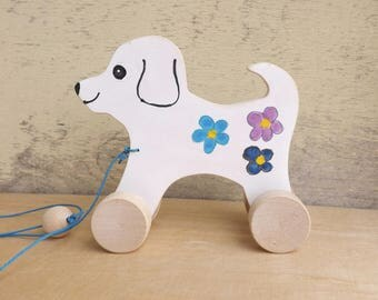 Wooden pull and push toy Dog in white, hand cut hand-painted toys for kids for toddlers, pull along wood toy dog on wheels personalized gift