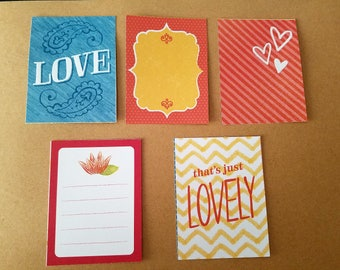 Glitter Love Note Cards for Scrapbooking, Journaling - set of 5