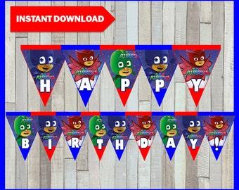 80% OFF SALE Printable Pj masks Banner instant download, Pj masks Birthday Banner, Printable Pj masks Triangle Banner