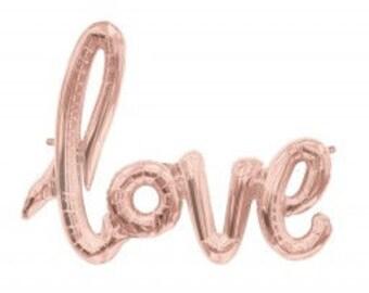 101cm Foil (AIR FILL) LOVE Script Rose Gold