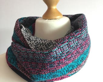 Handwoven Scarf, Infinity Scarf, Long Scarf, Pink and Blue Scarf, Handwoven Snood, Cotton Scarf, Hand dyed Scarf, Black Scarf, Blue Scarf