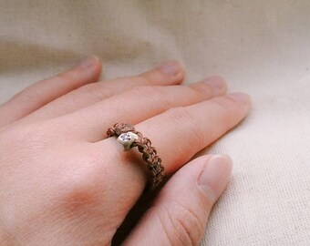 Traditional Chinese Woven Ring With Bead