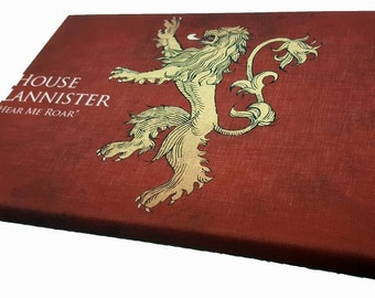 """House Lannister sigil & quote """"hear me roar"""" Game of thrones canvas wall art"""