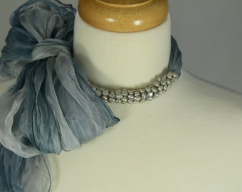 Scarf Necklace with Fresh Water Pearls