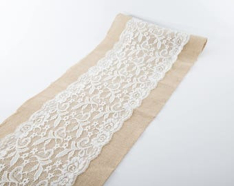 """Natural Jute Burlap Table Runner with Middle White Lace 12"""" Width"""