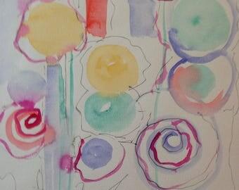 ORIGINAL WATERCOLOR watercolor painting art art flowers picture abstrackt Watercolour art