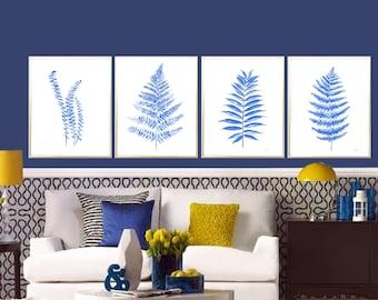 Fern Tropical Leaves Set of 4 Art print Indigo Fern Leaf Wall decor Indigo Fern watercolor print Blue Fern Leaves decor Fern poster