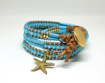 Turquoise / gold beads and leather wrap bracelet bracelet Starfish Starfish leather bracelet