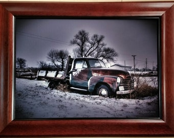 Snowstorm Chevy on 12 x 16 Canvas vintage truck