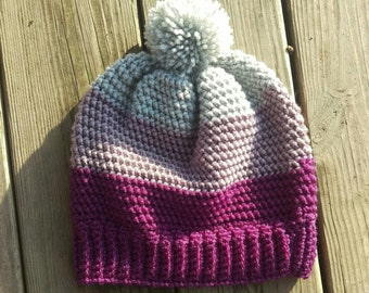 Ladies/Teen Color blocked slouchy hat
