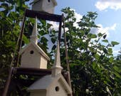 White Church Birdhouse for Backyard and Home Decorating