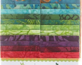 "Island Batik Empress Garden Batiks Strip Pack/Jelly Roll by Kathy Engle - 40, 2.5"" x 44"" strips of fabric"