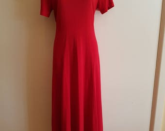 80s 90s Retro Size 10 Long Midi Red Fitted Dress