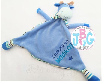 Personalised baby blue giraffe Comforter Cubby, baby teddy, perfect gift for a newborn baby boy or girl, baby blankie, new baby christening