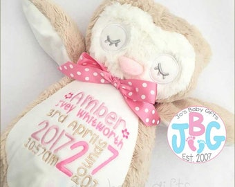 Personalised Owl Teddy Bear, Embroidered birthday Gift, Boy or Girl Custom bear, Christening Teddy, 1st birthday, embroidered bears