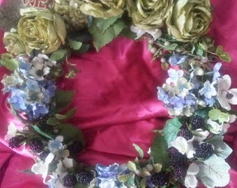 Black Berries and Roses Wreath