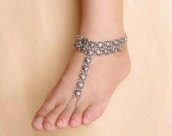 Fashion Beach Toe Ring Bracelet Silver barefoot sandals