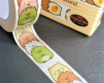 Kawaii Japanese Washi Tape 15mm x 10m. Sumikko Gurashi Washi tape.