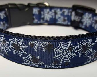 Spider Webs Dog Collar navy